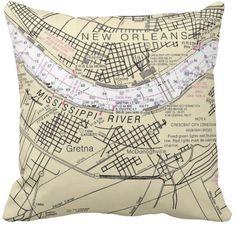 New Orleans Nautical Chart Pillow