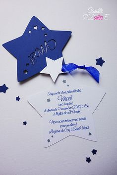 faire-part étoile bleu nuit blanc 2 Diy Invitations, Invitation Cards, Birthday Invitations, Sweet 16 Candles, Space Baby Shower, Karten Diy, Christening Invitations, Boy Baptism, Star Party