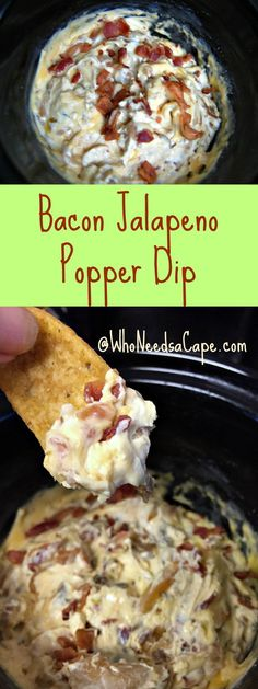 Bacon Jalapeno Popper Dip is perfect for any game day snack. Easy to make in your slow cooker you're going to LOVE this dip!