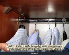 Łatwiejsze przesuwanie ubrań w szafie - pomysły, triki, sposoby, lifehacki, porady Clothes Hanger, Home, Coat Hanger, Clothes Hangers, Ad Home, Homes, Clothes Racks, Haus, Houses