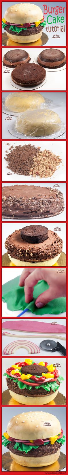 Burger Cake Tutorial by Wicked Goodies. One day I shall try to conquer this cake!