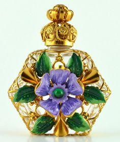 Vintage Jeweled Gold Tone Filigree Purple Flower Charm Perfume Bottle Hand Made Gift Vial