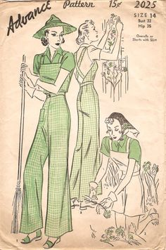 Advance 2025; ca. 1938; Overalls or Shorts with Shirt. View 1 or 3, Long-length Overalls - Contrasting Blouse. View 2, Short-length Overalls - Contrasting Blouse.