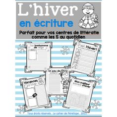 L'hiver en écriture Le cahier de Pénélope Core French, French Classroom, French Resources, School Grades, French Immersion, Cycle 3, Teaching French, French Language, Literacy Centers