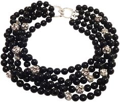 KENNETH JAY LANE-5 ROW BLACK BEADS WITH PAVE CRYSTALS BEADS-8792