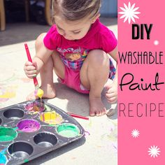 DIY Washable Paint Recipe- fun summer fun idea for Kids! from Marvelous Mommy