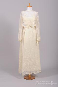 1970 Lace Vintage Wedding Ensemble : Mill Crest Vintage