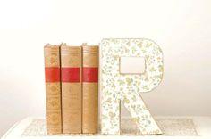 Letter R Monogram with Vintage Yellow Roses - Cake Topper - Monogram - Bookshelf Decor - Table Decor - Photography Prop - Birthday Party