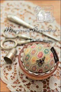 "Honeycomb Pincushion - Design from Blackbird Design's book ""In Friendship's Way"""