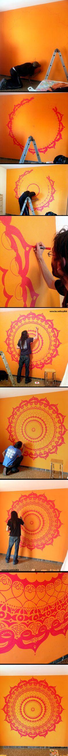 Mandala Wall Painting by Héctor Sánchez www.be.net/soy8bit
