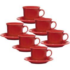 Conjunto com 6 Xícaras de Chá 200ml com Pires - Mail Order Red - Oxford Daily
