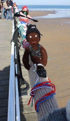 Guerilla knitting at Saltburn by the sea