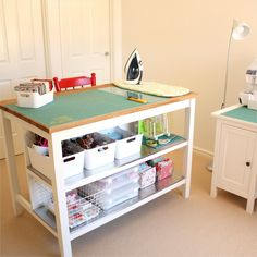 Nearly finished organising my sewing room. The Stenstorp Kitchen Island is the perfect cutting table. Plenty of room for cutting and pressing, plus loads of storage. Ikea Sewing Rooms, Sewing Room Storage, Sewing Spaces, Sewing Room Organization, My Sewing Room, Craft Room Storage, Craft Rooms, Storage Shelves, Sewing Office Room