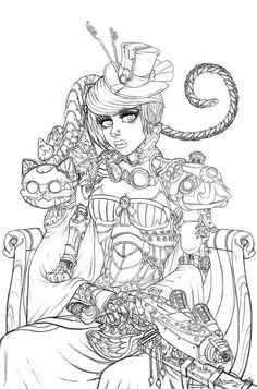Steampunk Coloring Pages   Steampunk Cheshire