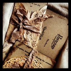 Vintage Wedding Invitation Boxed Invite Doily vintage handkerchief. $6.50, via Etsy.
