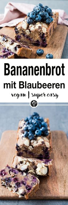 Bananenbrot mit Blaubeeren Vegan Cake vegan cake from whole foods Desserts Végétaliens, Health Desserts, Dessert Recipes, Cupcake Recipes, Cupcake Cakes, Blueberry Banana Bread, Banana Bread Recipes, Baking Recipes, Whole Food Recipes