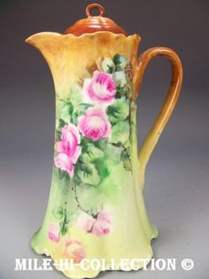Limoges Hand Painted Roses Chocolate Pot | eBay