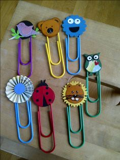 Paper clip bookmarks with punch art