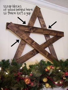 wooden star would be a nice decoration for Christmas with some lighting above the tree maybe