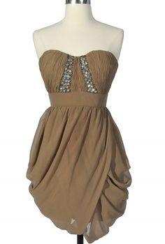 Embellished mocha chiffon dress