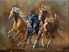 Ceramic Tile Mural - High Spirited - by Judy Gibson - Kitchen backsplash/Bathroom shower -- Read more at the image link. (This is an affiliate link) Horse Mural, Horse Artwork, Indian Art Paintings, Animal Paintings, Wild Horses Running, Art Of Dan, Drip Art, Beautiful Arabian Horses, Horse Wallpaper
