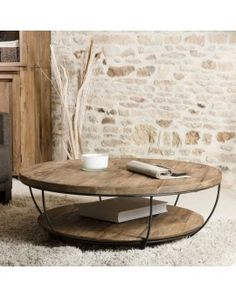 Round coffee Table in wood and its beautiful double tray to quickly discover Wire Coffee Table, Round Glass Coffee Table, Coffee Table Design, Eclectic Living Room, Living Room Designs, Living Room Decor, Centre Table Design, Living Pequeños, Decoration Buffet