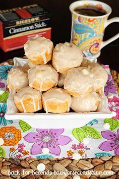 Glazed White Chocolate Cinnamon Muffins using #BigelowTea