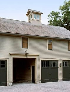 Barn by Gil Schafer . this for a barn house, the large opening as a car garage. Sliding doors behind the big green doors. Would still look like a regular barn. Cheap Garage Doors, Black Garage Doors, Barn Garage, Carriage Doors, Carriage House, Door Design, House Design, Garage Design, Grace Farms