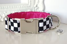 Black White Checkered Dog Collar With Pink by TwistedPetDesigns, $23.00