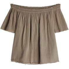 Velvet Off-Shoulder Cotton Top ($200) ❤ liked on Polyvore featuring tops, green, brown top, off shoulder tops, off the shoulder tops, velvet top and green top