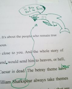 """To Bite Or Not To Bite"": The student who wrote this paper will probably never misspell 'Shakespeare' again. And this student may very well show a moment of humanity when they may not otherwise have done so. [Kudos to the professor for *not* using red pen.] courtesy of: http://www.neatorama.com/2012/05/31/a-teacher-with-a-sense-of-humor/"