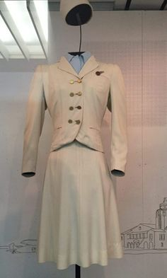 "The exhibit ""Fashion in Flight: A History of Airline Uniform Design,"" is currently on display at the SFO Museum until Sunday, January Air Hostess Uniform, Airline Uniforms, Hollywood Costume, Uniform Design, Sewing Blogs, Green Coat, Historical Clothing, Fashion History, A Line Skirts"