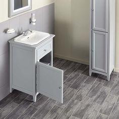 Savoy Gun Metal Grey 790 basin unit - with 2 tap hole basin image 3 Bathroom Sink Units, Bathroom Pictures, Vanity Units, Sink Units, Single Doors, Inset Basin, Storage, Bathroom Design, Bathroom Sink Storage