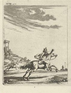 Arnold Houbraken   Ruiters in een landschap, Arnold Houbraken, 1681 - 1683   In een landschap galopperen twee ruiters. Linksop een heuvel een figuur op een troon, omringd door enkele krijslieden. Linksboven: fol. 36, 2 deel. Prent gebruikt in een boek van Lambert van den Bos met in totaal twintig prenten van Arnold Houbraken.