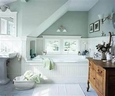 Attic Bathroom Solutions - love the antique washstand and the beadboard tub surround! Mint Green Bathrooms, Dream Bathrooms, Beautiful Bathrooms, Cottage Bathrooms, Mint Rooms, Retro Bathrooms, White Bathrooms, Luxury Bathrooms, Rustic Bathrooms