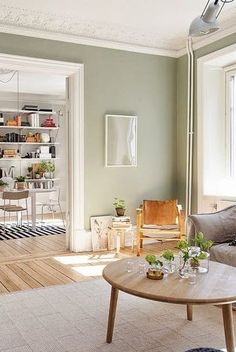 This living room colors can be an inspirational and impressive idea Green Kitchen Walls, Sage Green Walls, Sage Green House, Sage Green Paint, Sage Green Bedroom, Light Green Walls, Silver Sage Paint, Sage Green Kitchen, Green Sage