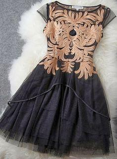Adorable lace detail black mini dress