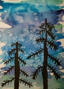 Winter trees with watercolor techniques: Learning Goals: Organic Shapes, Cool Colors, Analogous Colors