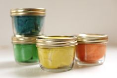diy glitter play dough.  I also used mini mason jars and they're perfect!
