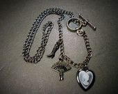 Ivory Portrait Suitcase Fan Black Chain Charm Necklace