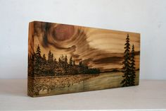 Sunset Art Block Wood burning by TwigsandBlossoms on Etsy - Crafts - Pyrography - Wood Burning Crafts, Wood Burning Patterns, Wood Burning Art, Wood Crafts, Wood Burning Projects, Diy Wood, Wood Wood, Sunset Art, Inspiration Art