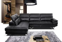 pacifica leather sectional with adjustable headrest | All Products / Living / Sofas / Sectional Sofas