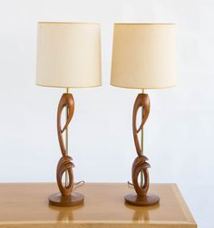 Pair of Walnut and Brass Table Lamps by DenMobler on Etsy