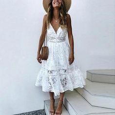 Chic Boho White Dress for Bridal Shower Dress Classy White Lace Dress White Boho Dress Summer Wedding Reception Dress Boho Wedding Dresses Coral Dress, Lace Midi Dress, Boho Dress, Bohemian Dresses, Midi Skirt, Lace Summer Dresses, Sexy Dresses, Casual Dresses, Lace Dresses
