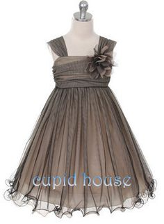 Rustic Flower Girl Country Flower Girl Dress Grey by CupidHouse, $69.00