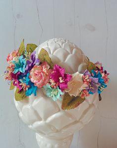 Custom beach wedding floral crown roses, lilies and berries // #beachwedding #beach #wedding #floralcrown #flowers #crown #brightcolors #handmade #boho #vintage
