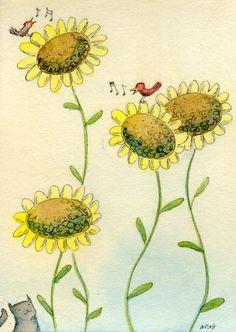"Wong ACEO Original Painting ""Sunflowers"" Black Cat Pets Garden Red Birds Music | eBay"