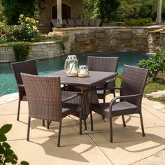 Christopher Knight Home Wesley Outdoor 5-piece Wicker Dining Set ($490) ❤ liked on Polyvore featuring home, outdoors, patio furniture, outdoor patio sets, brown, 5 pc dining table set, 5pc dining table set, outdoor wicker patio furniture, 5 piece outdoor dining set and outdoor dining sets