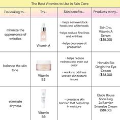 """The Klog on Instagram: """"Welcome to your guide to vitamins in skin care! 🌟 Have a question about which vitamins are best for you? Tap the link in bio. Already love…"""" Beauty Skin, Beauty Makeup, Health And Beauty, Healthy Skin Care, Rosacea, Beauty Hacks, Beauty Tips, Korean Skincare, Skin Care Regimen"""