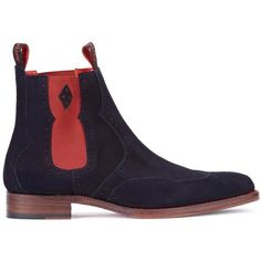 Jeffery West Dexter Novikov Navy Suede Chelsea Boots - Size 10 (€295) ❤ liked on Polyvore featuring men's fashion, men's shoes, men's boots, mens suede slip on shoes, mens slip on shoes, mens slipon shoes, navy blue mens shoes and jeffery west mens boots
